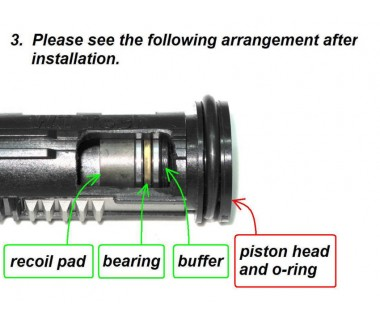 One-way Bearing Piston Head, Recoil Shock System M4 Series (for T.Marui gas cylinder)
